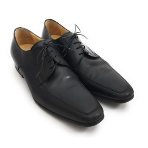 Santoni 'Prichard' Black Leather Apron Toe Derby